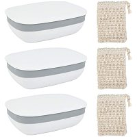 BENECREAT 3 Packs Soap Holder Soap Dish Container Box with Lids, 3 Packs Linen Soap Bag for Bathroom Use and Travel Use