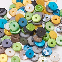 ARRICRAFT Shell Beads, Dyed, Disc/Flat Round, Heishi Beads, Mixed Color, 7~8mm, Hole: 1mm