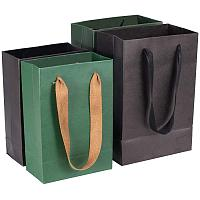 PH PandaHall 12pcs 2 Sizes Gift Bags Kraft Paper Bags Black Green Bags for Party Favors, Birthday Parties, Gifts, Restaurant takeouts, Shopping(5x2.7x7.5, 6x3.5x8.6)
