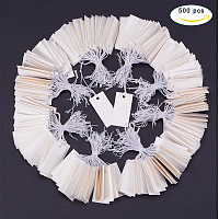 PandaHall Elite 500 Pcs Rectangle White Paper Tags Marking Strung Tags Writable Tags Display Label Price Tags With Hanging String Price 35x18mm for Jewelry Gift Sale Display