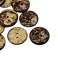 NBEADS 100 Pcs Coconut Buttons, 2-Hole, Flat Round, CoconutBrown, 20x2.5mm, Hole: 2mm