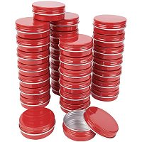 BENECREAT 30 Packs 30ML Red Round Tin Cans Screw Top Aluminum Cans for Storing Spices, Candies, Lip Balm and Party Favor Gifts
