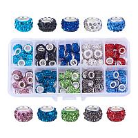 NBEADS 1 Box 100 PCS Mix Color Crystal Charms Rhinestone Spacer Beads Larger Hole Beads Fit European Bracelet Snake Chain Charms Bracelet