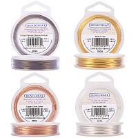 BENECREAT 4 Rolls 20-Gauge Tarnish Resistant Silver/Gold/Copper/Antique Bronze Coil Wire, 132-Feet/44-Yard in Total