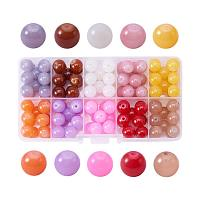 ARRICRAFT 1 Box (about 100pcs) 10 Color 10mm Imitation Jade Crackle Glass Round Beads Assortment Lot for Jewelry Making