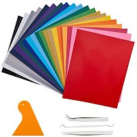BENECREAT Heat Transfer Vinyl Set, 26 Pack 12x10 Mixed Iron On Vinyl Sheets with Beading Tweezers, Needle Crochet, Triangle for T-Shirt Clothes Fabric Decoration DIY Design