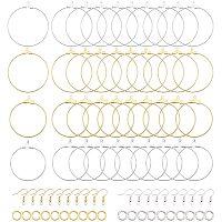 PH PandaHall 140pcs Hoop Earring Findings Beading Hoop Earring Components with Earring Hooks and Jump Rings for Earring Jewelry Making (Platinum & Golden)