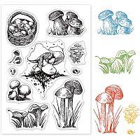 GLOBLELAND Mushroom Clear Stamp Silicone Stamp Cards Stamp Transparent Seals for Card Making Decoration and DIY Scrapbooking