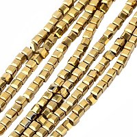 NBEADS 10 Strands Gold Plated Crystal Faceted Cube Glass Beads Strands with 2x2x2mm,Hole:1mm,about 101pcs/strand