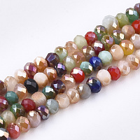 Electroplate Glass Beads Strands, AB Color, Faceted, , Mixed Color, 3x2mm, Hole: 1mm; about 192~195pcs/strand, 16.1""