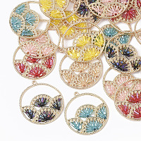 NBEADS Polyester Thread Woven Pendants, with Glass Seed Beads and Light Gold Plated Alloy Findings, Flat Round with Fan, Mixed Color, 37.5x34.5x2mm, Hole: 1.8mm