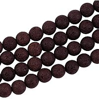 Pandahall Elite 470pcs 8mm Natural Lava Beads Coconut Brown Chakra Bead Strand Dyed Round Gemstone Loose Beads Energy Healing Beads for Jewelry Making
