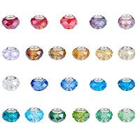 ARRICRAFT 100PCS 14x9mm Glass European Beads with Silver Brass Cores Large Hole Beads, Mixed Color