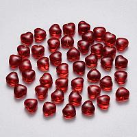 Arricraft Imitation Jade Glass Beads, Heart, Dark Red, 6x6x4mm, Hole: 0.7mm