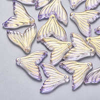 NBEADS Transparent Spray Painted Glass Pendants, with Glitter Powder, Fishtail Shape, Lilac, 19x19.5x3.5mm, Hole: 1.2mm