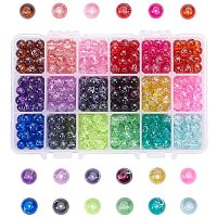 Arricraft 540pcs 18 Color Glass Beads for Jewelry Making, 8mm Candy Color Loose Beads Bulk for Necklace Bracelets Making