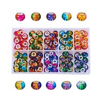 NBEADS 100 PCS Mixed Color Transparent Glass European Beads, Two Tone Large Hole Rondelle Beads European Charms fit Bracelet Jewelry Making