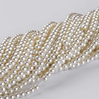 Arricraft 20 Strands 4mm Ivory Tiny Satin Luster Glass Pearl Beads Round Spacer Bead with Cotton Cord Thread for Jewelry Making (Each About 216 Pieces)