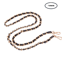 PandaHall Elite 1 Pack 48 Inches Iron Flat Chain Strap Handbag Chains Accessories Leather Purse Straps Shoulder Cross Body Replacement Straps with 2 Pieces Swivel Buckles