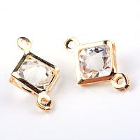 Arricraft Iron Glass Links/Connectors, Rhombus, Light Gold, 19x12x8mm, Hole: 1.5mm