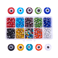PandaHall Elite 10 Color 6x3mm Flat Round Evil Eye Lampwork Beads Handmade Beads Assortment Lot for Jewelry Making, about 700pcs/box