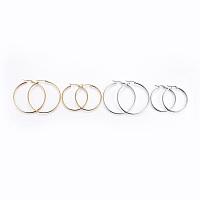 Arricraft 201 Stainless Steel Hoop Earrings, Golden & Stainless Steel Color, 20 Gauge, 43x40x2mm; Pin: 0.8mm; 20 Gauge, 52x50x2mm; Pin: 0.8mm