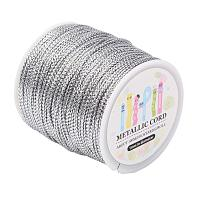 ARRICRAFT 109 Yards 1mm Non Stretch Jewelry Braided Thread Gift Wrap Ribbon Metallic Tinsel Cord Rope Silver