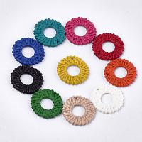 Acrylic Pendants, Imitation Woven Rattan Pattern, Ring, Mixed Color, 30.5x30x4mm, Hole: 1.5mm