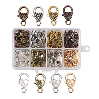 Alloy Lobster Claw Clasps, Heart, Mixed Color, 11x7x3cm; 80pcs/box
