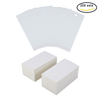 PandaHall Elite 200 Sets Paper Jewelry Earrings Ear Studs Display Cards with OPP Cellophane Self Adhesive Bags White