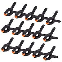 PandaHall Elite 30pcs Black Plastic Nylon Spring Clamps Clip Jaw Opening, DIY Woodworking Tools for Sorts of Projects