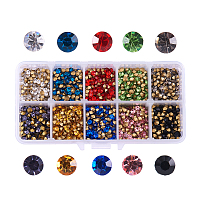 PandaHall Elite 10 Color Grade A Glass Pointed Back Chaton Rhinestones Jewelry Crystal Gems for Nail Art Decoration Leather Jacket High Heels Shoes Bag Clutches Décor, about 3400pcs/box