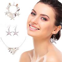 PandaHall Elite Fashion Sea Shell Starfish Faux Pearl Collar Bib Statement Chunky Necklace