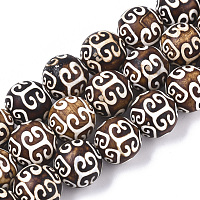 ARRICRAFT Tibetan Style dZi Beads Strands, Natural Agate Beads, Dyed & Heated, Round, Auspicious Cloud Pattern, 12mm, Hole: 1.2mm, about 30pcs/Strand, 13.78 inches(35cm)
