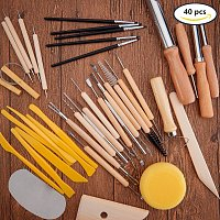 BENECREAT 40PCS Clay Sculpting Tools Pottery Carving Tool Set - Includes Clay Color Shapers, Modeling Tools & Wooden Sculpture Knife for Professional or Beginners