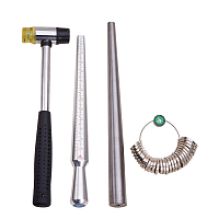 PandaHall Elite Jewelry Tool Stick Mandrel Ring Sizers Hammer 4 Sets a Pack for Jewelry Making