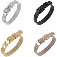 PH PandaHall 4 Colors 10mm Stainless Steel Bracelets for 10mm Slide Charms Slide Wristbands Bracelets Jewelry Making Charm, 8.5inch Long