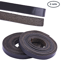 PandaHall Elite Leather Strap 157 Inches Long 3/8 Inch Wide Leather Craft Strip (Black surface, brown bottom)