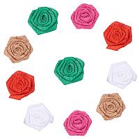 PandaHall Elite 10PCS 5 Color Burlap Flowers Packs Wedding Decorations Burlap Rose Linen Flower for DIY Craft Making and Christmas Home Wedding Party Decoration
