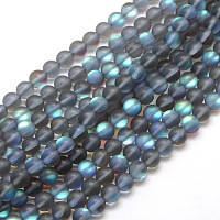 Synthetic Moonstone Beads Strands, Holographic Beads, Half AB Color Plated, Frosted, Round, Gray, 10mm, Hole: 1mm; about 40pcs/strand, 15 inches