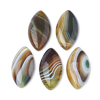 Nbeads Natural Brazilian Agate Cabochons, Dyed, Horse Eye, 40x19.5x5~6.5mm