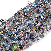 Arricraft Glass Beads Strands, Faceted, Round & Oval & Rondelle & Column, Mixed Color, 2~13x2~20x4~12mm, Hole: 0.5~1mm; about 75~94pcs/strand, 15.55inches(39.5cm)