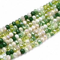 ARRICRAFT Electroplate Mixed Color Glass Beads Strands, AB Color Plated, Faceted Rondelle, Light Green, 3x2mm, Hole: 0.8mm, about 186~193pcs/strand, 17.13 inches~17.32 inches, (43.5cm~44cm)