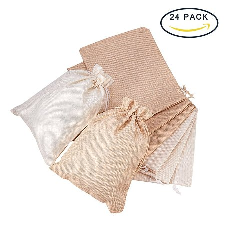 BENECREAT 24Pack Large Size Burlap Bags with Drawstring Gift Bags Jewelry Pouch for Wedding Party and DIY Craft Color Linen and Cream, 8.8 x 6.7 Inch
