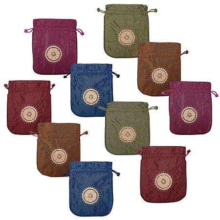 NBEADS 10 Pcs 5.9x4.9 Inch Mixed Color Silk Pouches Gift Bags Samples Pouches Drawstring Bags Jewelry Pouches Favor Bags