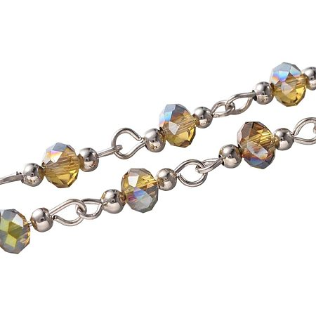 Arricraft 5 Strands 3.3 Feet Faceted Crystal Glass Beads Chain Link with Spacer Beads and Eye Pin for Necklaces Bracelets Jewelry Making