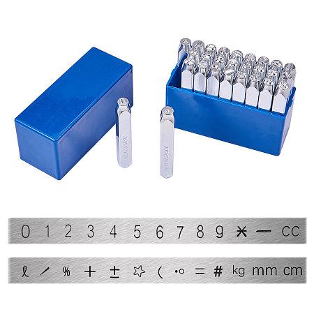 PandaHall Elite 27 Pcs Number and Symbols Metal Stamp Set, 1/4