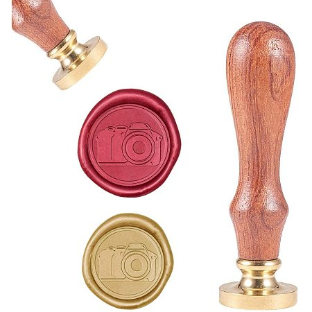 CRASPIRE Wax Seal Stamp, Vintage Wax Sealing Stamps Camera Retro Wood Stamp Removable Brass Head 25mm for Wedding Envelopes Invitations Embellishment Bottle Decoration Gift Packing
