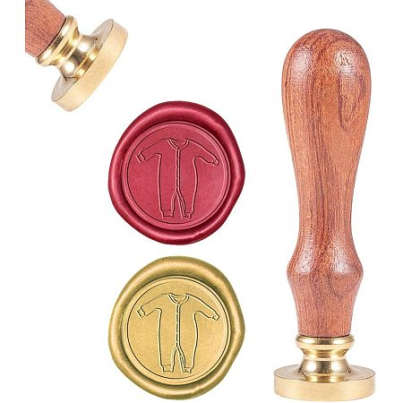 CRASPIRE Wax Seal Stamp, Sealing Wax Stamps Baby Jumpsuit Retro Wood Stamp Wax Seal 25mm Removable Brass Seal Wood Handle for Envelopes Invitations Wedding Embellishment Bottle Decoration Gift Packing