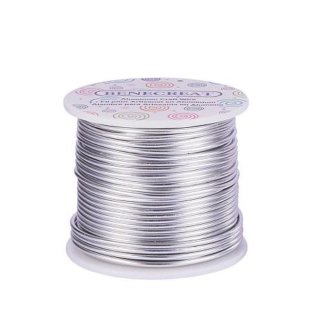 BENECREAT 12 Gauge Aluminum Wire Length 100FT Anodized Jewelry Craft Making Beading Floral Colored Aluminum Craft Wire - Silver